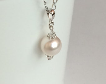 Swarovski Crystal Pearl Stainless Steel Necklace, Classy Classic Chic Simple Bridesmaids Necklace N80