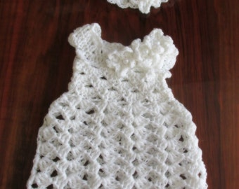 White Crochet Christening Dress and headband with flowers