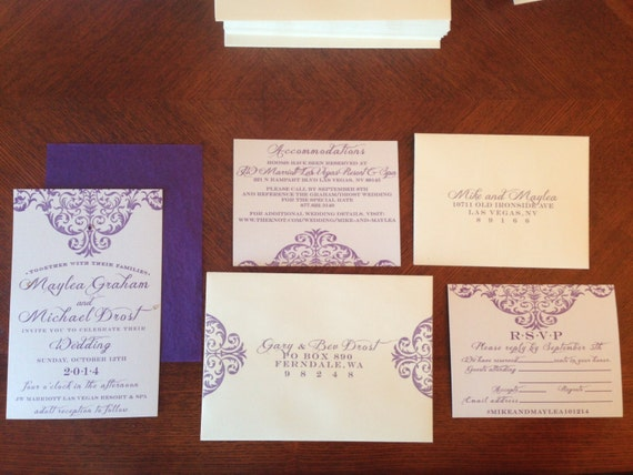 "Shabby Chic Wedding Invitation - ""Bella"" - Digital File"