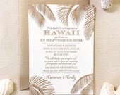 The Leilani Suite - Letterpress  Elopement Announcement - Sample, Hawaii, Destination Wedding, Classic, Nautical, Beach, Palm Trees, Florida