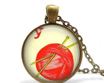 Knitting necklace red ball of yarn pendant gift for knitter vintage knitting needles art charm.