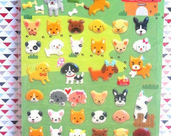 Kawaii Dogs Puffy Sticker - Scrapbooking, Card-making, diary stickers, planner stickers