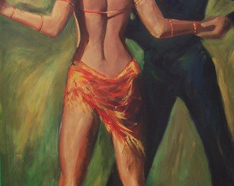 Tango dancers painting- cha-cha dancers art, painting of dancers in gold and bronze  metallic colors. wall decor 18x24