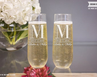 Personalized Champagne Glasses - (Set of TWO) Custom Engraved Stemless Champagne Flutes - Personalized Wedding Gift - Engagement Gift
