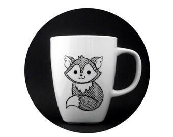 ceramic animal, fox mug in black and white, fox children, fox mug, fox cup, personalized mug, woodland mug, christmas gift