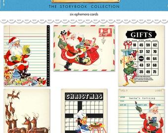 "Digital Christmas journaling cards / 3"" by 4""/ downloadable / printable / PDF / JPEG / Santa / Elves"