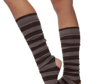ALINAMALINA Brown and Gray Melange Yoga Leg Warmers - Stripe Dance and Yoga Socks -  Yoga and Dancing Accessory