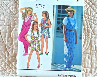 Girls, Jumpsuit, L XL, Simplicity 8504 Pattern, Front Button, Waist Pleats, Scoop or V Neck, 1993 Uncut, Size 12 14