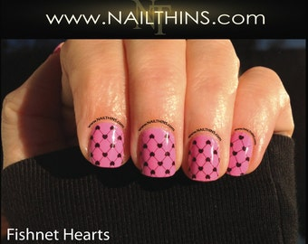 Fishnet and Hearts Nail Decal Full nail wrap NAILTHINS