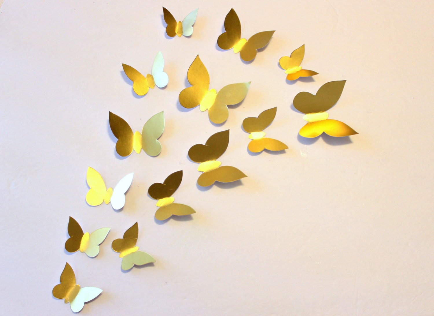 Gold wall decor butterfly wall decal gold wall decal paper for Butterfly wall mural stickers