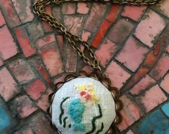 Little Mermaid - hand embroidered necklace, mermaid, ocean, fantasy, shell, needlework