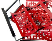Wine Rack Mid Century Red and Black Stackable