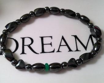 Hematite Bracelet, Green Jade, Magnetic Bracelet, Holistic Therapy, Magnetic Therapy, Hematite Heart, Semi Precious Stones, Gift for Mom