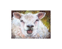 Original ACEO, Sheep painting a day 340, ACEO painting, SFA, white sheep portrait, laughing sheep, Acrylic on Canvas, miniature