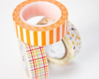 Orange Washi Tape - Stripe Masking Tape - Planner Washi Tape in Australia