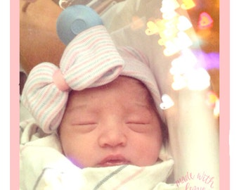Hospital Newborn Beanie, Pink White and Blue striped hat, Newborn's First Bow, Newborn hat with bow, newborn girl hospital hat