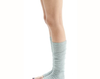 Arya Yoga Spats/ Yoga Leg Warmers/ Yoga Socks in Light Gray Melange/ Unisex Yoga Spats by AryaSense/ SPT12LG