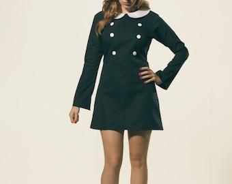 Navy Blue,  Bell Sleeves, Mod Dress, 1960's, Peter Pan Collar Dress, White Collar