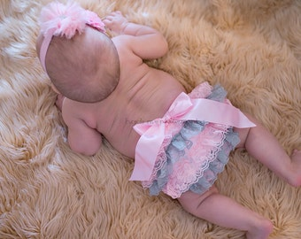 Baby bloomers, pink and gray lace bloomers, newborn girl bloomers, infant bloomers, diaper cover, baby girl clothes, baby girl clothing
