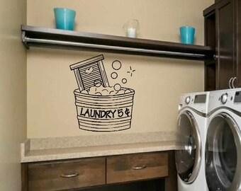 laundry wall decal - wall art - cute laundry 5 cents bucket - laundry room decor - 5 sizes available - matt vinyl