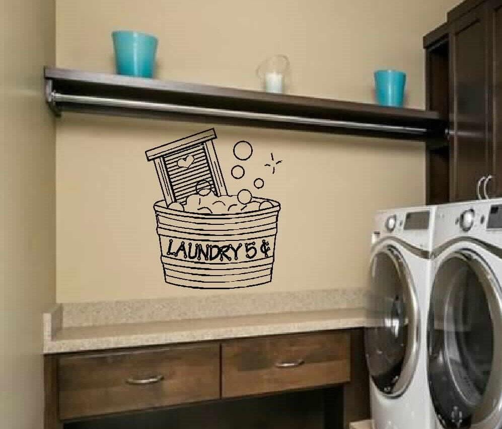 Laundry Wall Decal Wall Art Cute Laundry 5 Cents Bucket