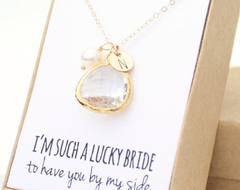 Bridesmaid Necklace Gold (Clear / Gold Rounded Necklace NB2)