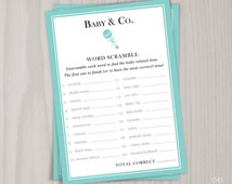 Baby & Co. Word Scramble Game, Baby Shower Printable Game, Baby Babble Robin's Egg Blue, Gender Neutral Instant Download