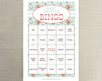 Instant Download - 50 Shabby Chic Baby Shower Bingo Games - Twin Baby Shower - Neutral Baby Shower