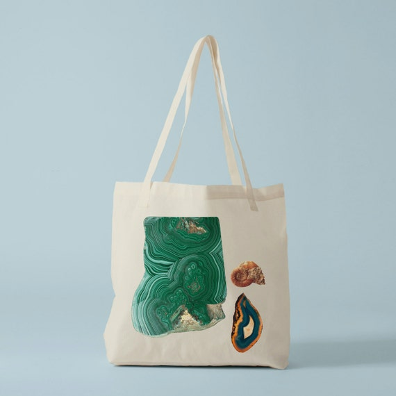 Tote bag Modern Geology II, groceries bag, canvas bag, eco friendly bag, gems, gift for coworker, gift for graphic designer.