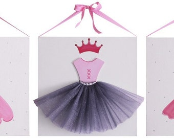 Pink and White Princess Canvas Painting Set