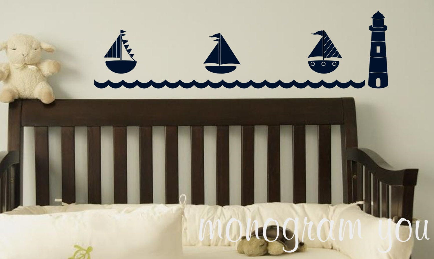 nautical wall decal with lighthouse sailboats nursery wall. Black Bedroom Furniture Sets. Home Design Ideas