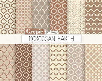 "SALE 50% Moroccan digital paper: ""MOROCCAN EARTH"" cream beige brown grey neutral earth tones w/ morocco arabic patterns, quatrefoi"