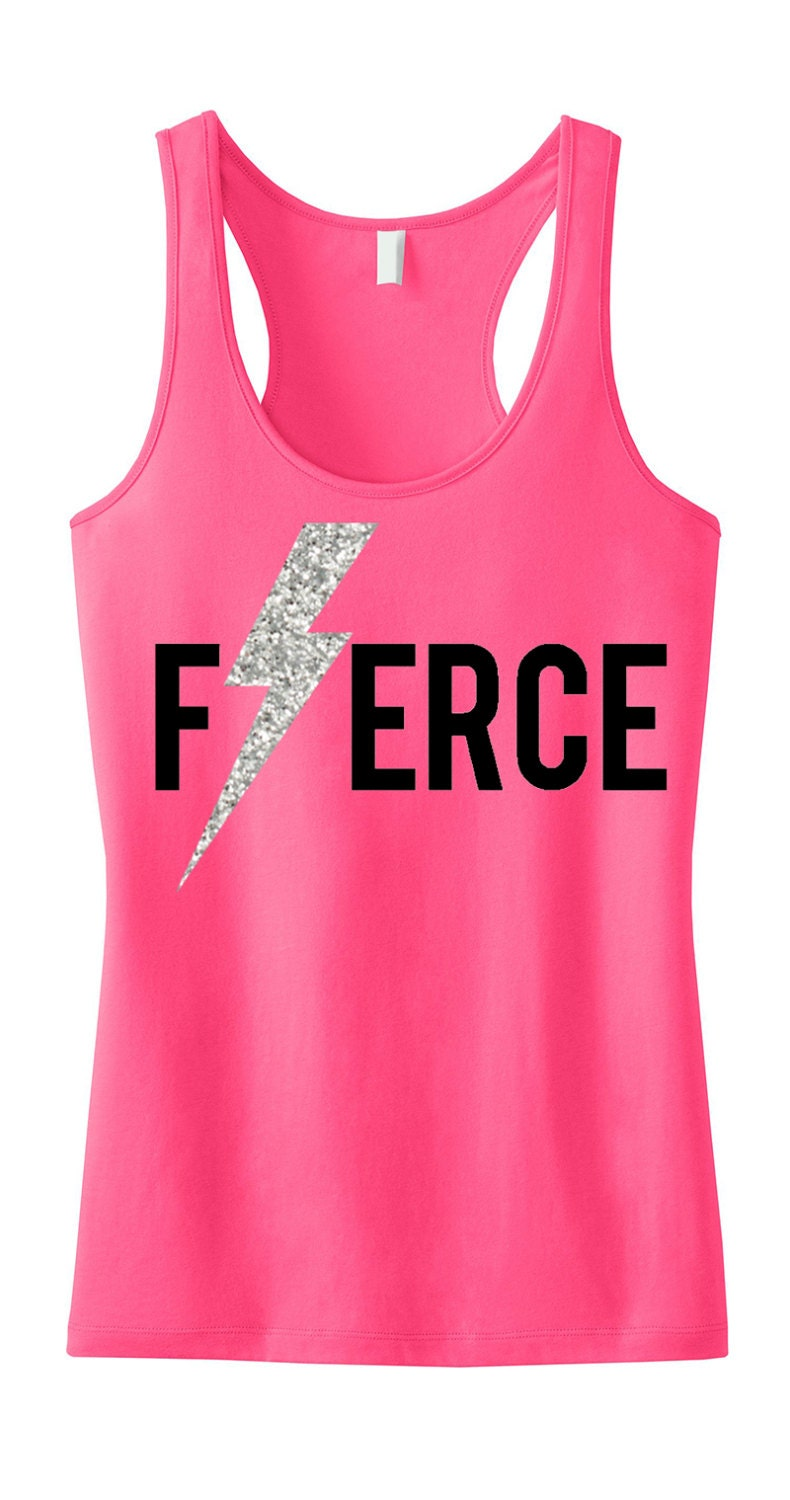 Fierce glitter lightning workout tank top workout clothing for Best work out shirts