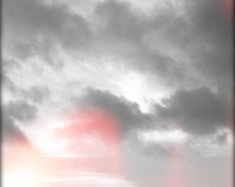Clouds, Sky, Photography, Gray, Red, Modern Fine Art Wall Decor, Abstract Landscape Photography