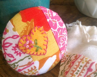 Patchwork Pocket Mirror - Embroidered Heart & Flowers    Vintage Fabric Scraps - with Pouch