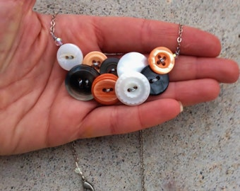 Sherbert Orange and Grey Vintage Button Necklace with Silver Chain
