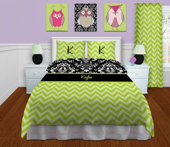 Green Duvet Cover Green Chevron Bedding By Eloquentinnovations