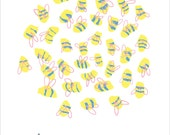 Busy Little Bees Print – illustration, cute, pretty, insect, bee, type, typography, hand drawn