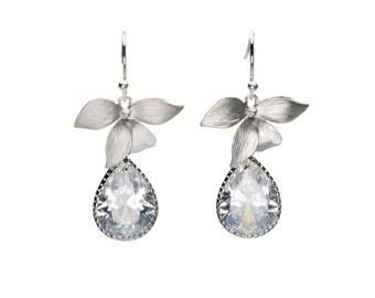 CZ Orchid Earrings in Fine Setting, Flower Earrings, Wedding Jewelry, Bride Earrings, Bridesmaid Jewelry, Mother's Day