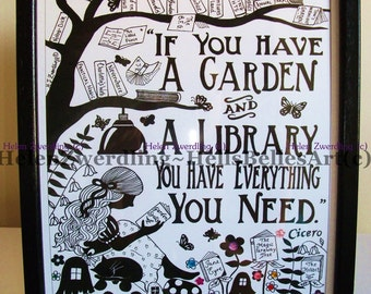 Garden Library ~ Cicero quote ~ a personalised and enhanced, high quality A4 framed print of an original artwork by ©Helen Zwerdling.
