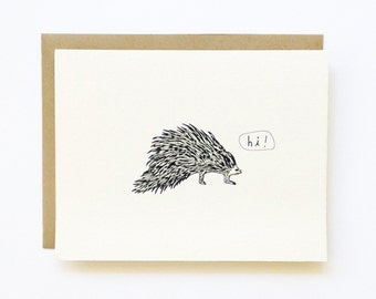 Porcupine Hello! - Hand Illustrated Hello - Blank Greeting Card