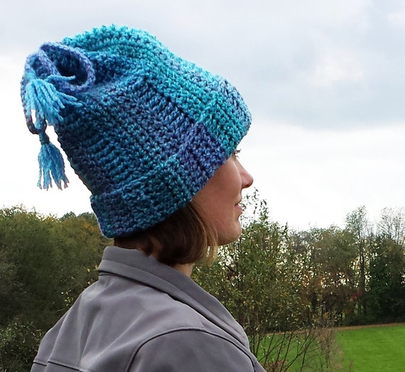 Convertible hat and cowl scarf tube with tassels crochet