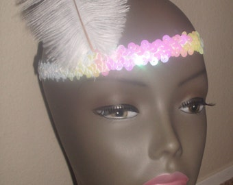 New white sequined1920's flapper head piece hat costume costumes