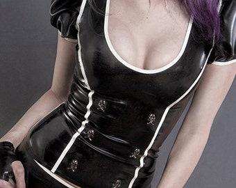 Latex ROKKU top with puffy sleeves push up skull studs and back zipper