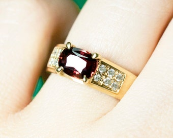 Red Tourmaline and Diamond Engagement <Prong> Solid 14K Yellow Gold (14KY) Colored Stone Estate Wedding Ring *Fine Jewelry* (Free Shipping)