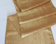 Gold table runner wedding table runner elegant soft wrinkled silky table decor many colors