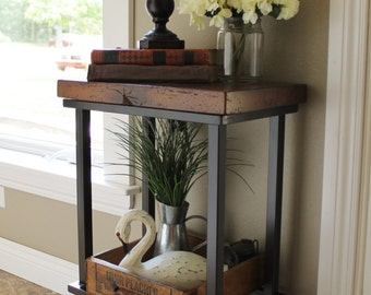 Metal / Industrial Side Table - Rustic Reclaimed Barn Wood Top