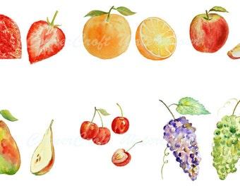 Digital watercolour fruits - apple orange cherry pear strewbeery grapes clipart printable instant download scrapbook (set1)