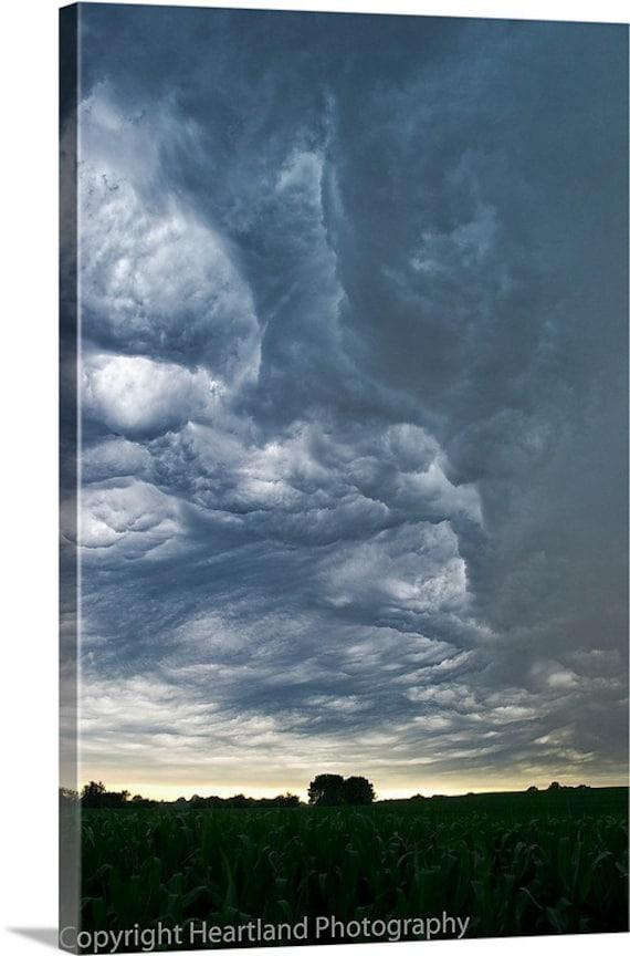 Canvas Landscape, Midwest Photo, Storm Clouds, Dramatic Sky, Corn Fields, Canvas Wrap, Gallery Wrap, Farmland Art, Fine Art Photo, Clouds