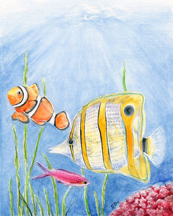 Bathroom Wall Art Canvas Artwork Nautical Coral Reef Ocean: Items Similar To Tropical Fish Painting Nautical Nursery